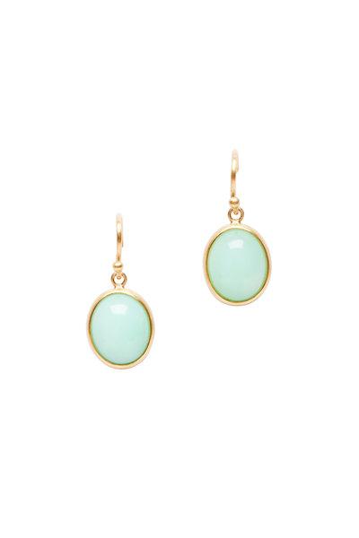 Caroline Ellen - 22K Yellow Gold Green Opal Drop Earrings