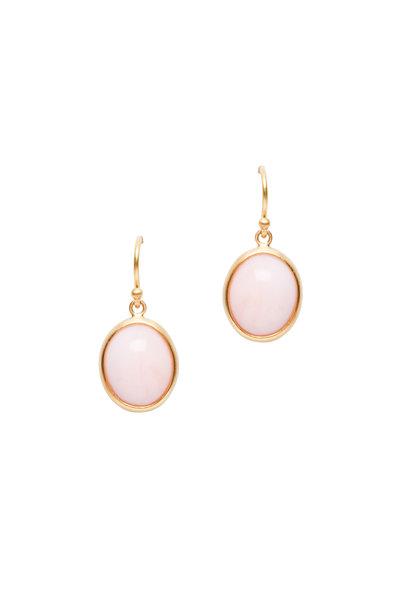 Caroline Ellen - 22K Yellow Gold Pink Opal Drop Earrings
