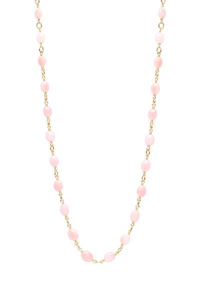 Caroline Ellen - 20K Yellow Gold Pink Opal Bead Necklace