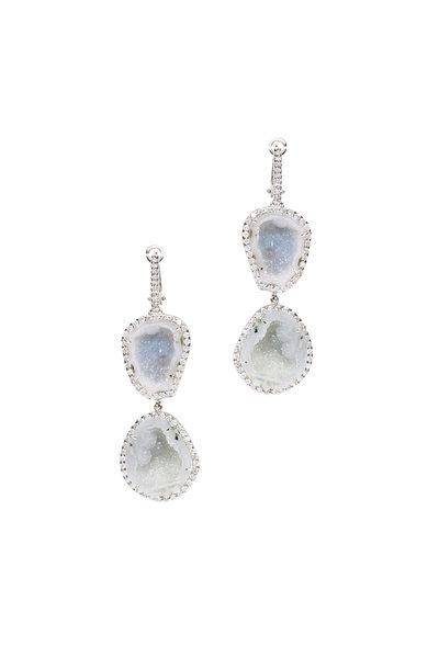 Kimberly McDonald - 18K White Gold Light Geode & Diamond Drop Earrings