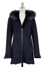 Viktoria Stass - Navy Blue Shearling & Fox Fur Hooded Coat
