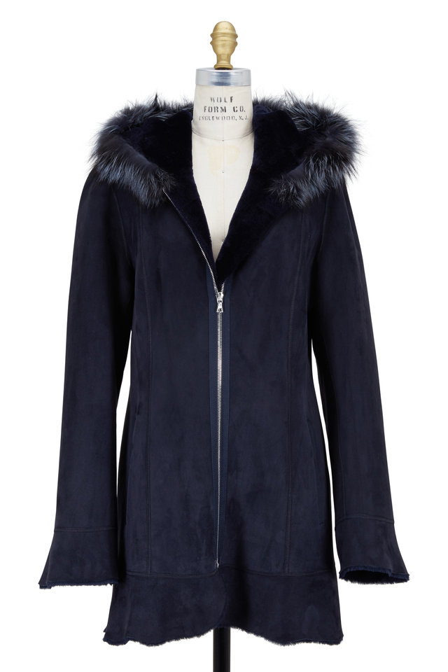 Navy Blue Shearling & Fox Fur Hooded Coat