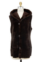 Viktoria Stass - Brown Shearling & Mink Trim Vest
