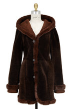 Viktoria Stass - Mocha Shearling & Mink Fur Hooded Coat