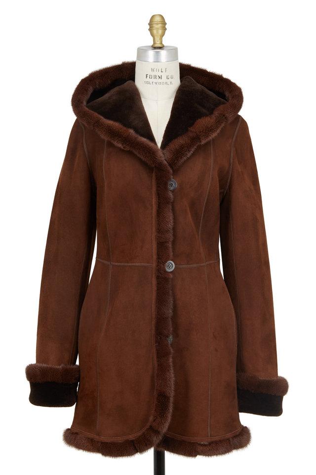 Mocha Shearling & Mink Fur Hooded Coat