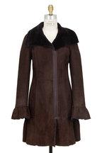 Viktoria Stass - Brown Shearling Shawl Collar Coat