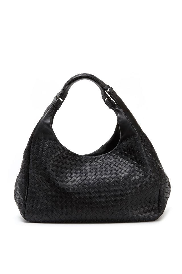 Campana Black Intrecciato Leather Hobo