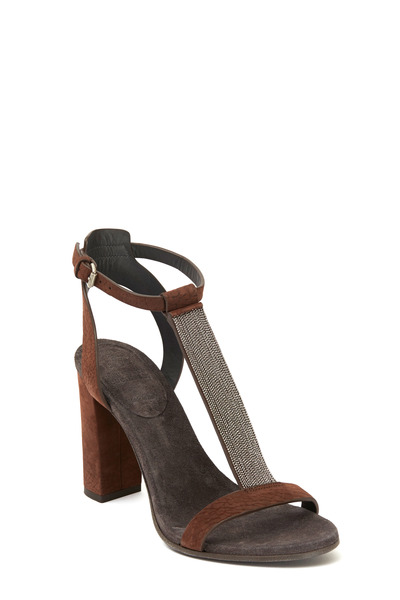 Brunello Cucinelli - Dark Brown Leather Monili T-Strap Sandal, 100mm