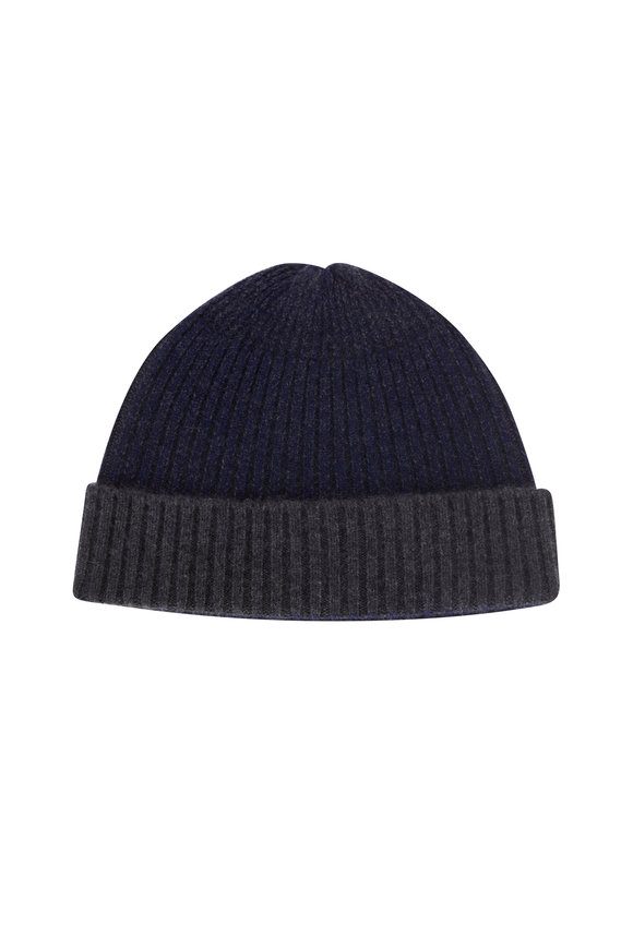 Raffi  Iron & Ink Blue Cashmere Ribbed Beanie