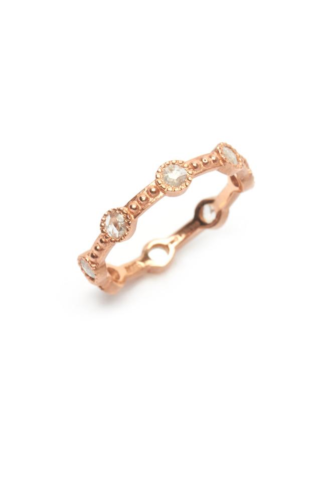 Rose Gold Rose-Cut Diamond Caviar Ring