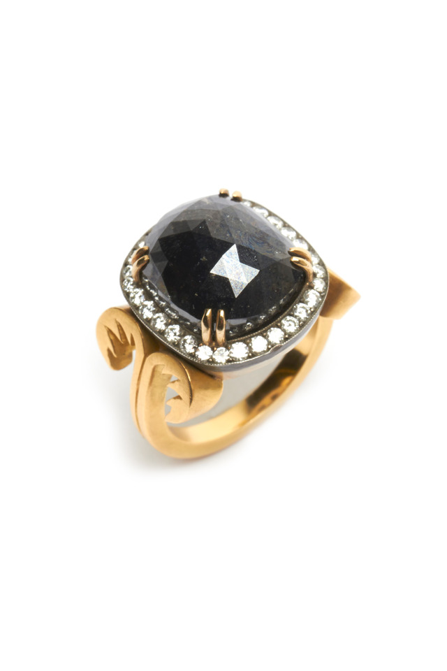 Gold White & Black Diamond Ring