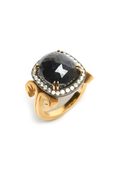 Sylva & Cie - Gold White & Black Diamond Ring