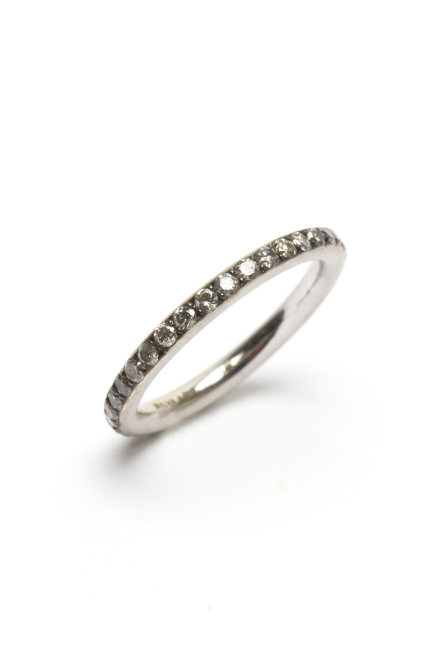 White Gold Grey Diamond Tube Ring