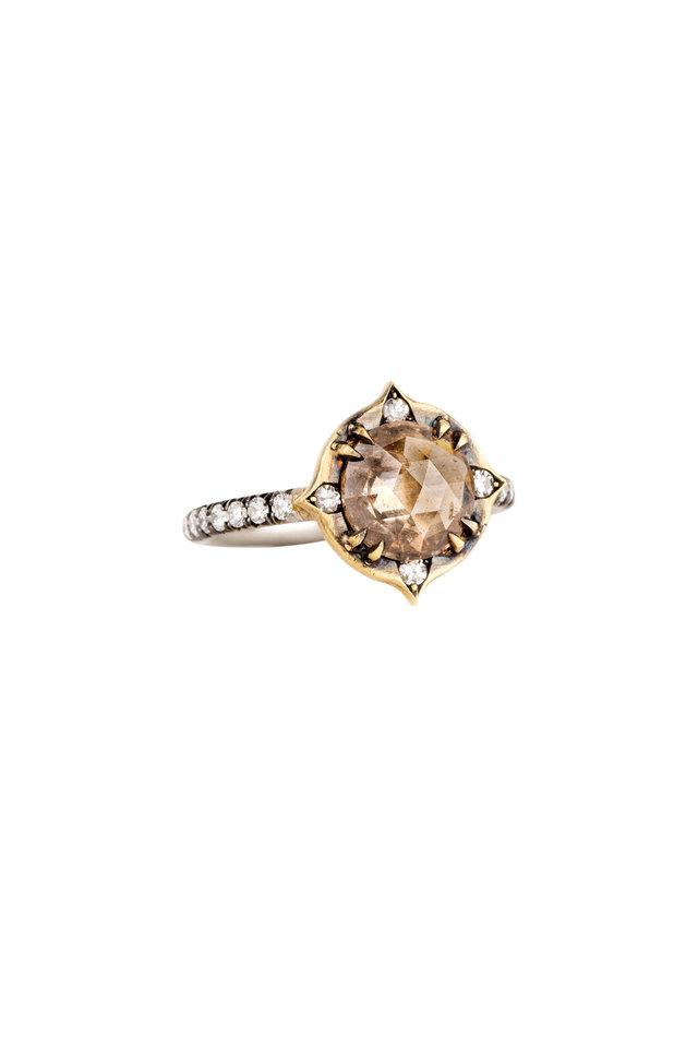 18K Gold & Platinum Champagne Diamond Ring