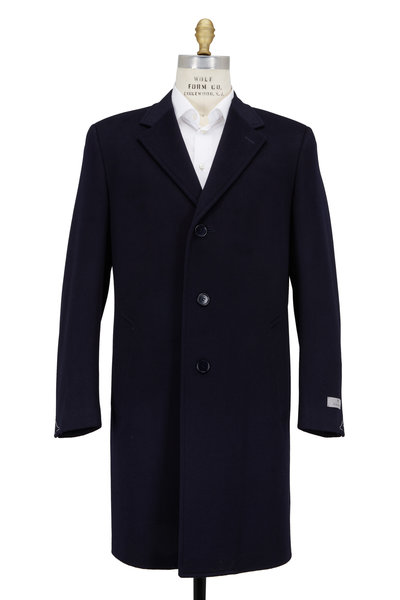 Canali - Navy Blue Wool & Cashmere Topcoat