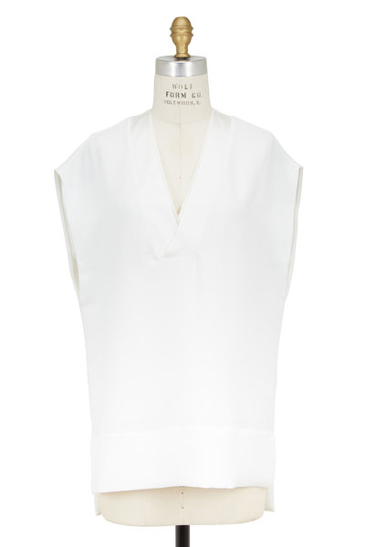 Vince - White Crepe & Silk Trim Top