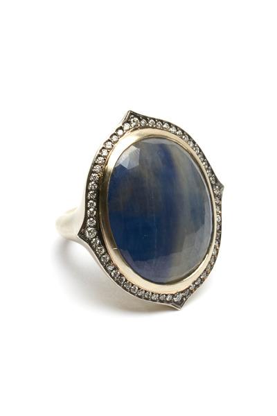 Sylva & Cie - White Gold Blue Sapphire Portrait Cocktail Ring