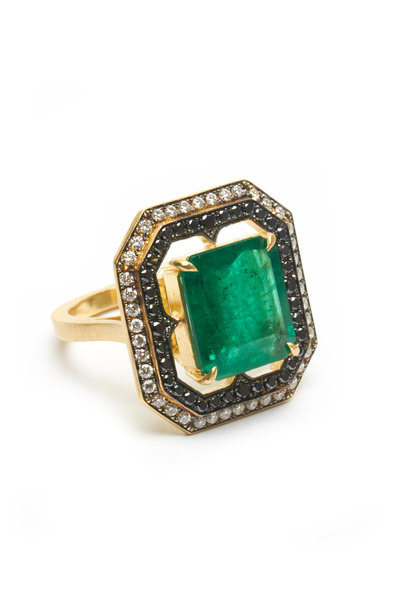 Sylva & Cie - Gold Emerald Diamond Ring
