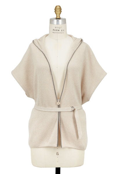 Brunello Cucinelli - Orzo Ribbed Cashmere & Lurex Belted Cardigan