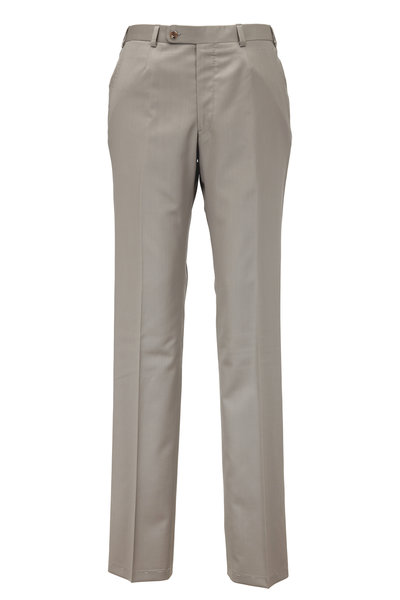 Oxxford Clothes - Monroe Taupe Wool Dress Pant
