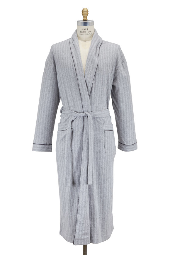 Majestic Gray Striped Lightweight Robe