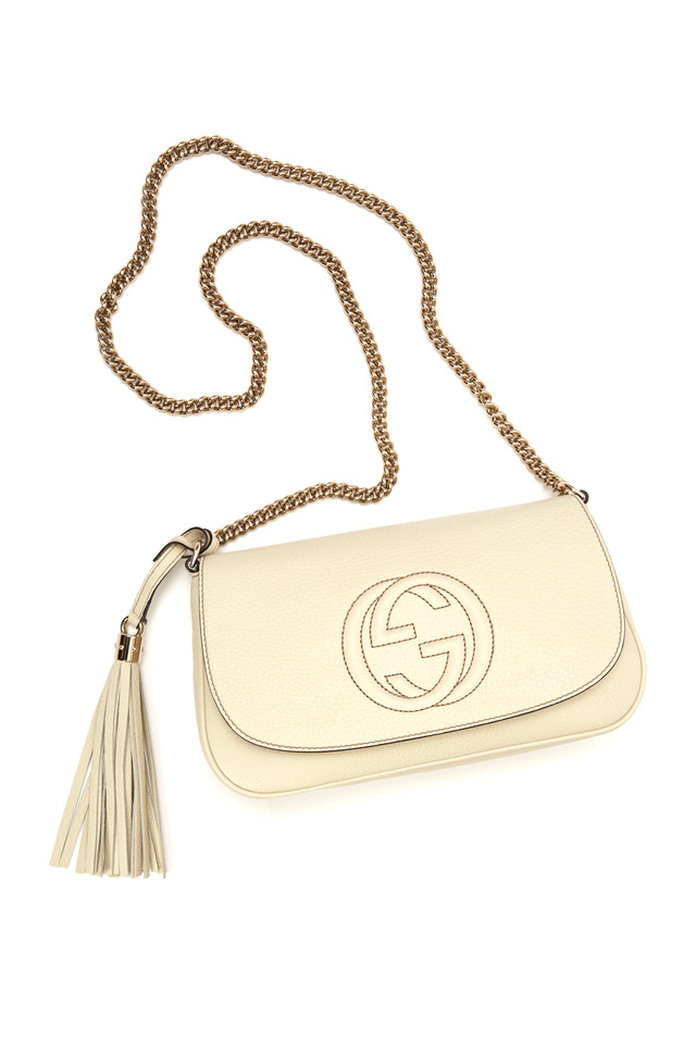 White Leather East West Embossed Crossbody