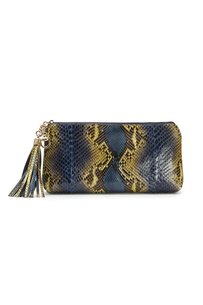 Gucci - Broadway Blue & Yellow Snakeskin Clutch