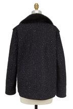 Wes Gordon - Black Speckled Wool & Dyed Mink Coat