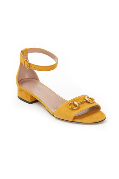 Gucci - Liliane Yellow Suede Ankle Strap Sandals