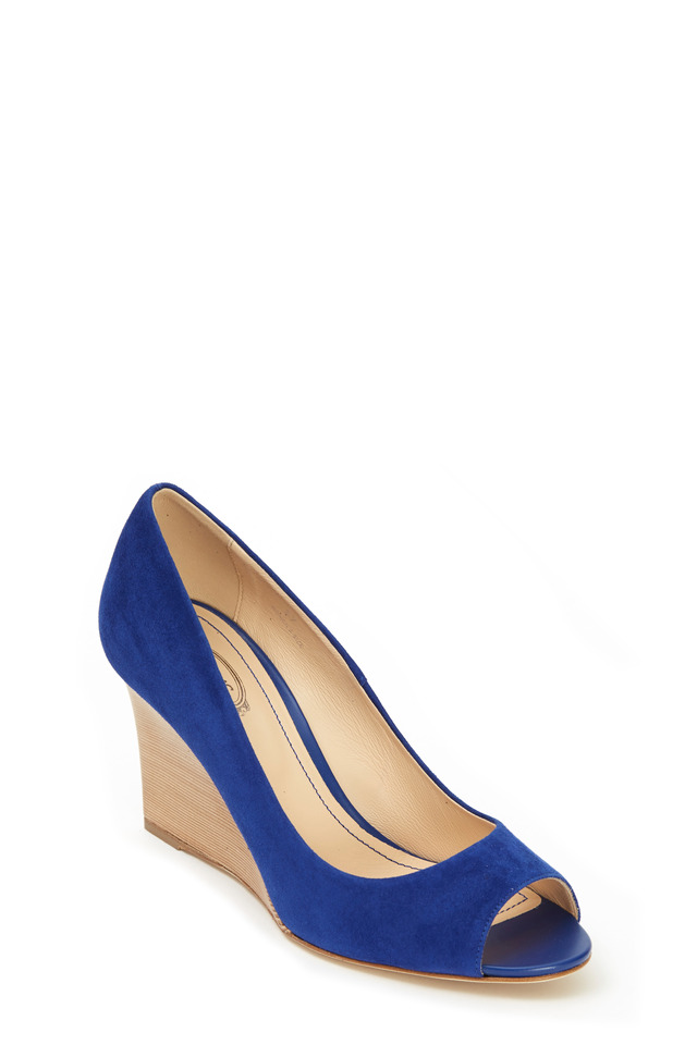 Bright Blue Suede Wedge, 85mm