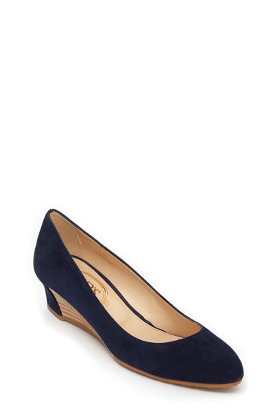 Tod's - Zeppa Navy Blue Suede Wedge, 35mm