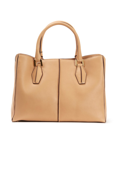 Tod's - Tan Matte Leather Medium D-Cube Handbag