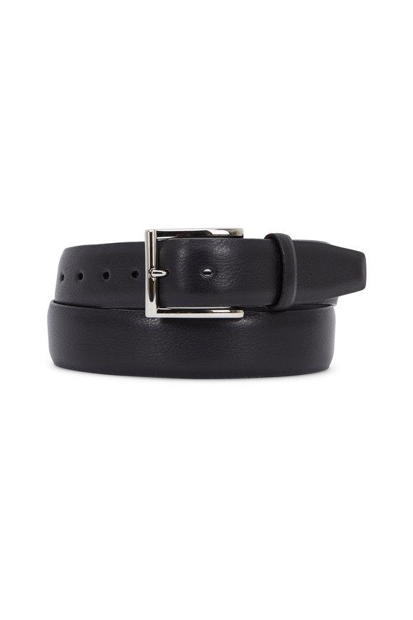 Torino Black Glazed Milled Calfskin Belt
