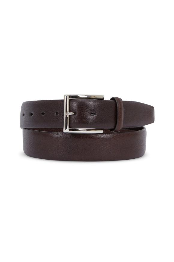Torino Dark Brown Glazed Milled Calfskin Belt