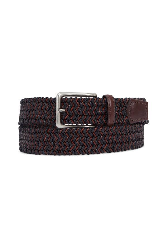 Torino Black & Brown Woven Leather & Cotton Belt