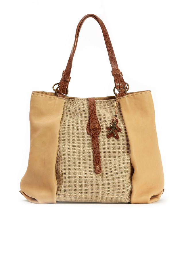 Valent Sand Linen & Leather Tote