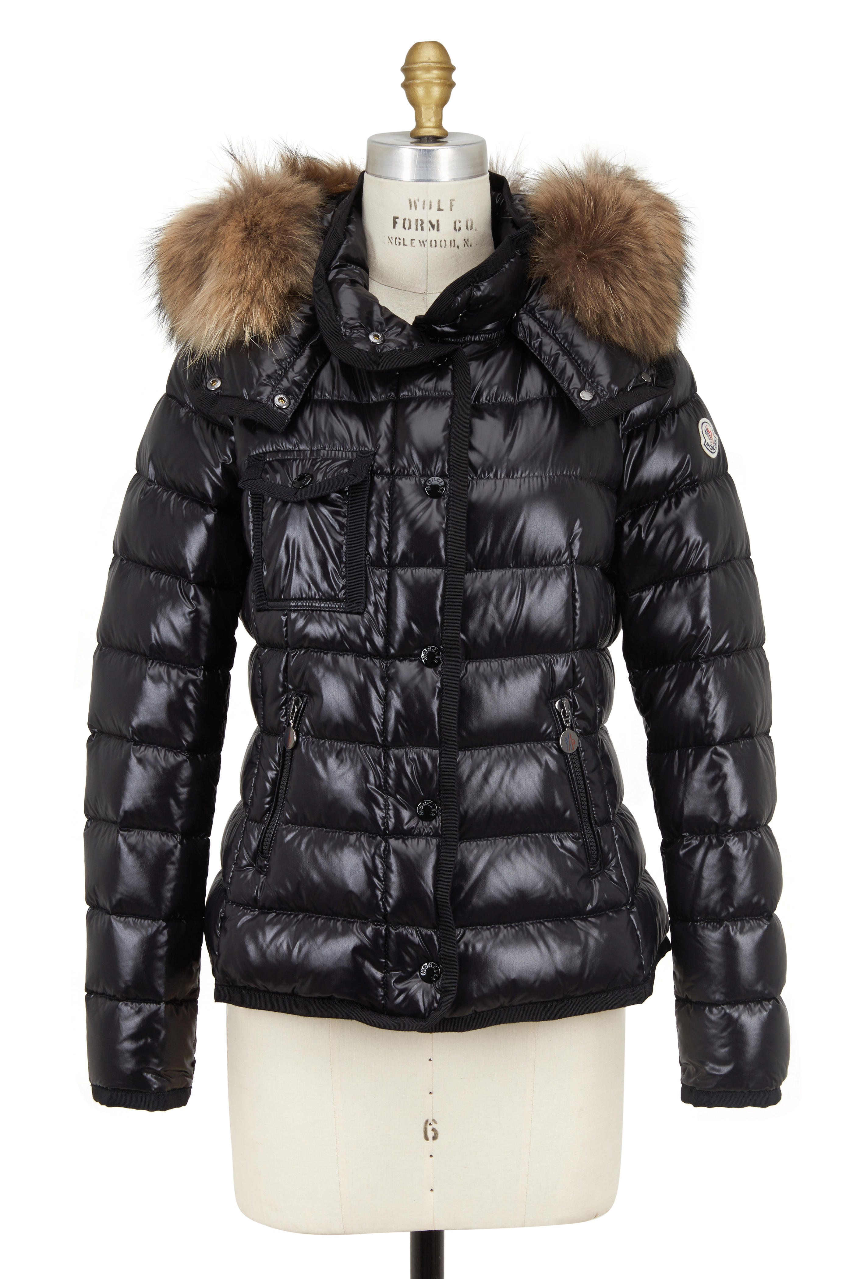 12f4470ae Moncler - Armoise Black Lacquered Nylon Fur Trim Jacket
