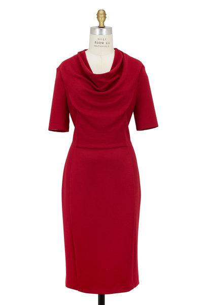 Escada - Black Cherry Wool Short Sleeve Cowl Neck Dress