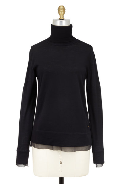 Bogner - Viola Black Wool Layered Turtleneck Sweater