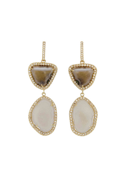Kimberly McDonald - Gold Double Neutral Drop Diamond Earrings
