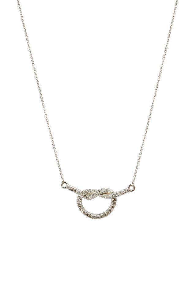 White Gold Diamond Love Knot Necklace