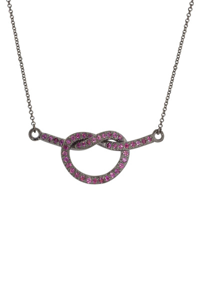 Kimberly McDonald - White Gold Pink Sapphire Love Knot Necklace