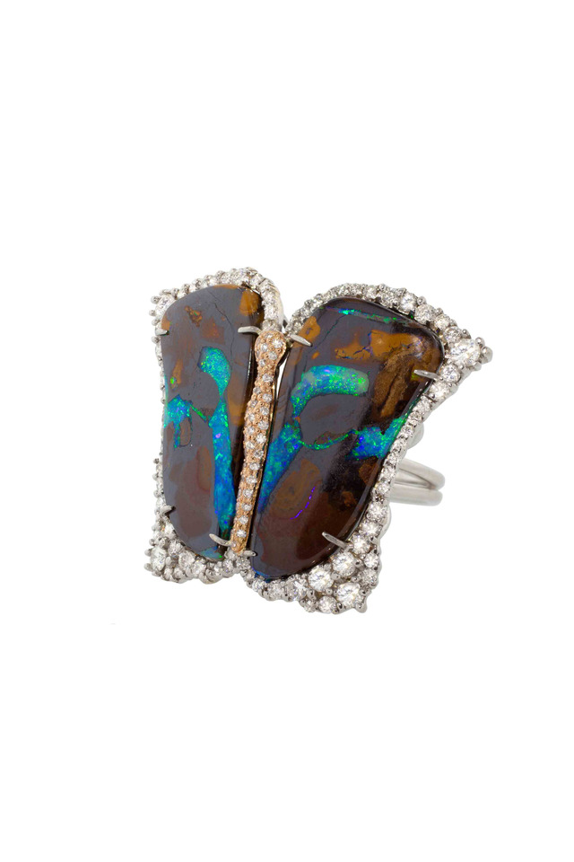 Rose Gold Yowah Opal & Diamond Butterfly Ring