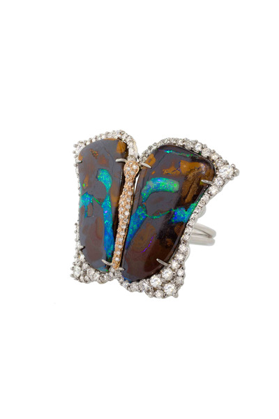Kimberly McDonald - Rose Gold Yowah Opal & Diamond Butterfly Ring