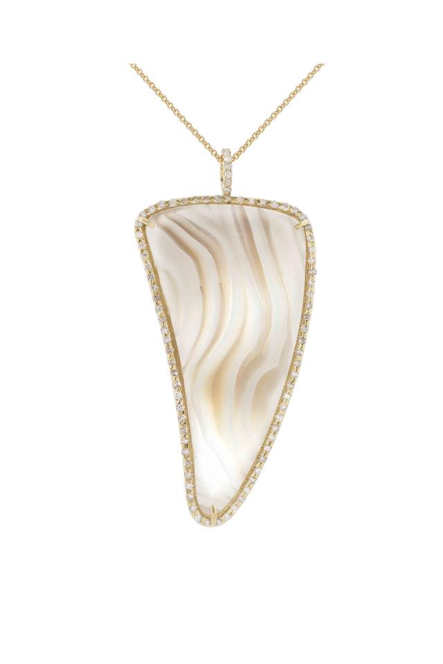 Gold Agate Horn Tusk Diamond Pendant