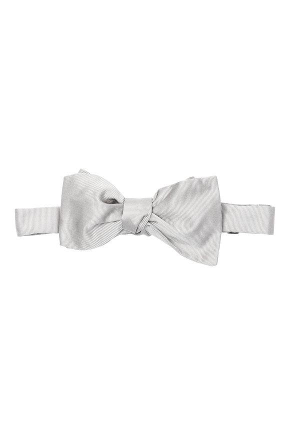 Brenda Kett Silver Silk Faille Bow Tie