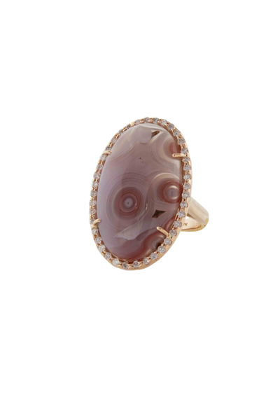 Kimberly McDonald - 18K Rose Gold Agate Diamond Ring