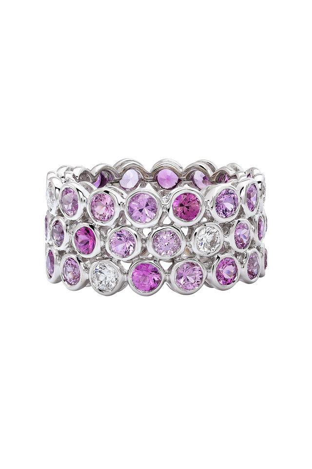 White Gold Three Row Diamond Season Ring