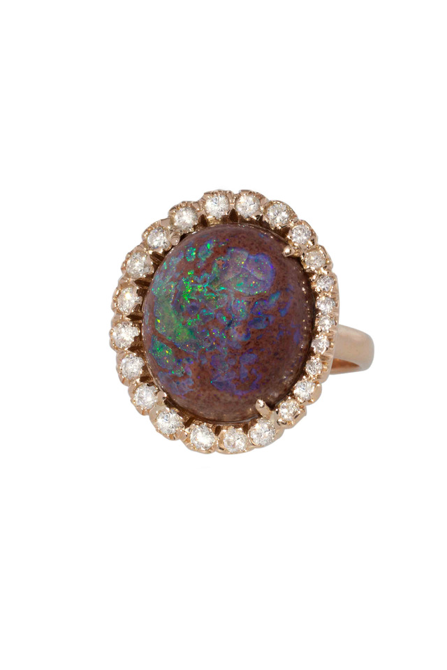 Rose Gold Fire Opal Diamond Ring