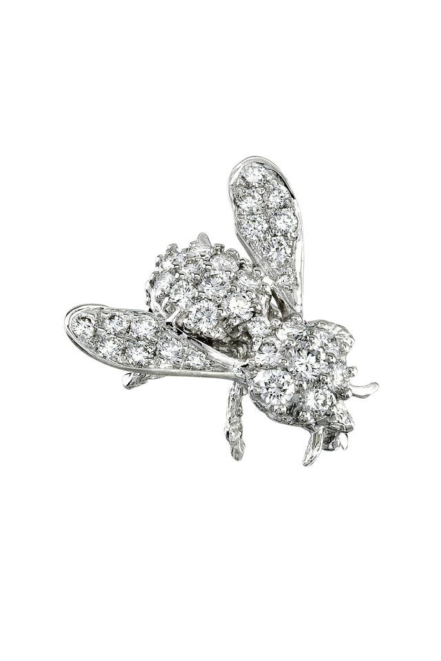 Gold Diamond Bee Brooch